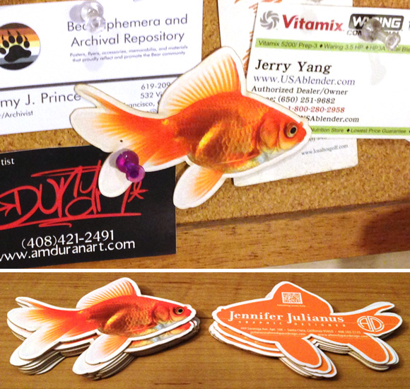 My new fish-shaped business cards